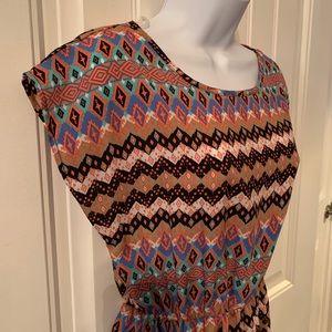 Just Be Women's Multi Colored Elastic Waist Dress